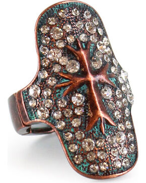 Shyanne® Women's Rhinestone Studded Cross Stretch Ring, Turquoise, hi-res