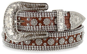 Angel Ranch Women's Rhinestone Gator Print Belt, Brown, hi-res