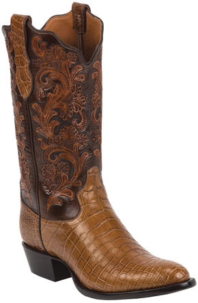 Tony Lama Brandy Hand-Tooled Signature Series Nile Crocodile Western Boots - Round Toe , Brandy, hi-res