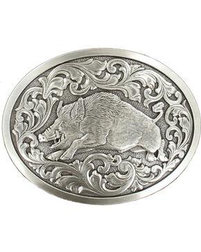 Nocona genuine silver plated hog buckle, Silver, hi-res