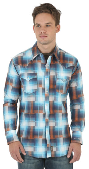 Wrangler Retro Men's Blue Plaid Western Shirt , Blue, hi-res