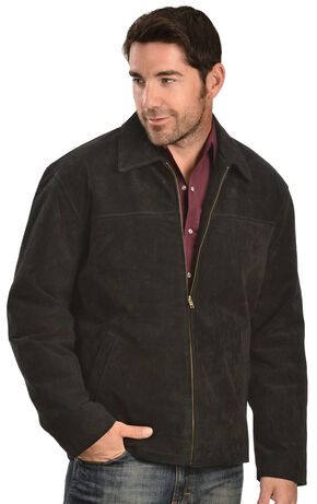 Vintage Leather Men's Black Suede Jacket, Black, hi-res