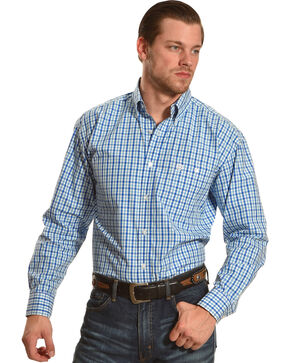 Wrangler George Strait Men's Blue/White/Blue Plaid Button Down Shirt - Big & Tall, Blue, hi-res