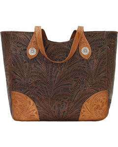 American West Annie's Secret Collection Brown Large Zip Top Tote, , hi-res