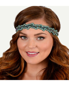 Pink Pewter Teal Hand Beaded Charlotte Stretch Headband, , hi-res