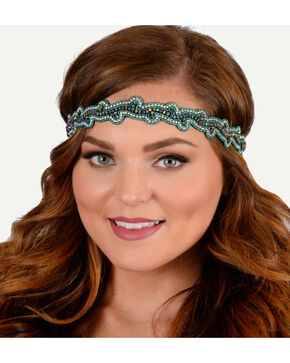 Pink Pewter Teal Hand Beaded Charlotte Stretch Headband, Teal, hi-res