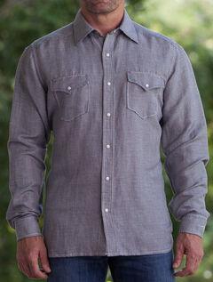 Ryan Michael Men's Black Hounds Tooth Silk Linen Western Shirt , , hi-res