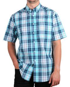 Ariat Men's Aqua Nevil Hybrid Plaid Short Sleeve Shirt , Aqua, hi-res