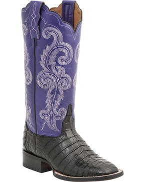Lucchese Handcrafted 1883 Women's Annalyn Ultra Caiman Belly Boots - Round Toe, Black, hi-res