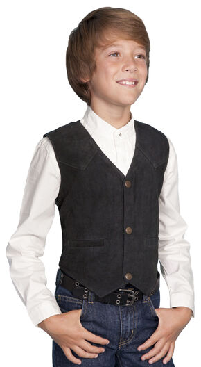 Scully Boys' Boar Suede Vest, Black, hi-res