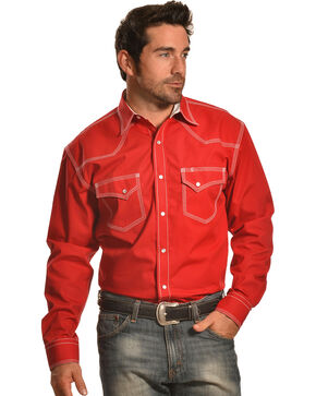 Crazy Cowboy Men's Red Triple-Stitched Western Snap Shirt , Red, hi-res