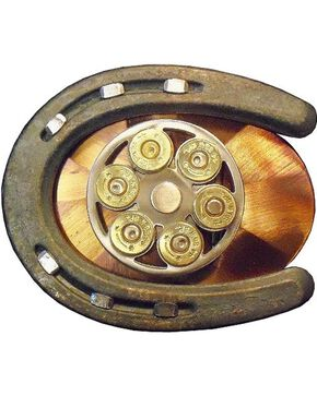 Exotic Gun Cylinder & Horseshoe Belt Buckle, Multi, hi-res