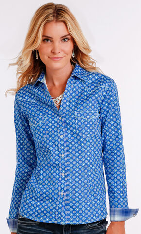 Panhandle Slim Women's Blue Two Pocket Long Sleeve Shirt , Blue, hi-res