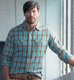 Ryan Michael Men's Brushed Ombre Dobby Plaid Shirt, , hi-res