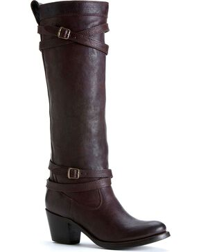 Frye Women's Jane Strappy Riding Boots - Round Toe, Dark Brown, hi-res
