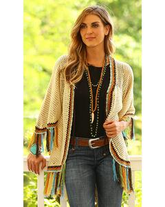 Wrangler Women's Fringed Crochet Cardigan , Ivory, hi-res