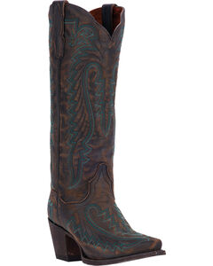Dan Post Distressed Turquoise Cowgirl Boots - Snip Toe , , hi-res