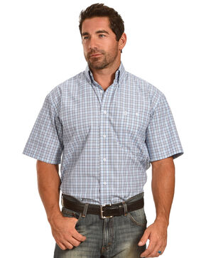 Wrangler George Strait Men's White/Blue Plaid Short Sleeve Shirt, Blue, hi-res