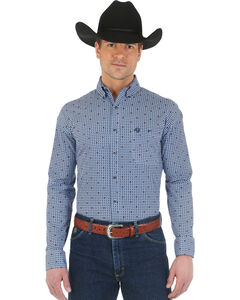 Wrangler George Strait Navy and Light Blue Print Western Shirt, , hi-res