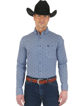 Wrangler George Strait Navy and Light Blue Print Western Shirt, Navy, hi-res