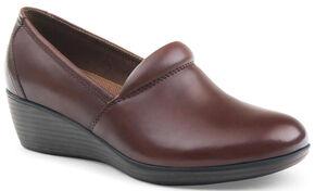 Eastland Women's Brown Savannah Plain Toe Slip On Shoes, Brown, hi-res