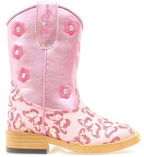Blazin Roxx Toddler Girls' Pecos Glitter Zipper Cowgirl Boots - Square Toe, Pink, hi-res