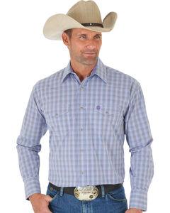 Wrangler George Strait Purple Plaid Two Pocket Snap Western Shirt , , hi-res
