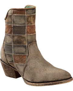 Corral Chocolate Patchwork Cowgirl Booties - Round Toe , , hi-res