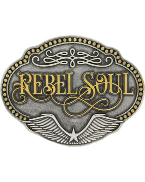 Montana Silversmiths Women's Two-Toned Rebel Soul Belt Buckle , Silver, hi-res
