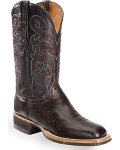 Lucchese Men's Black Cherry Lance Smooth Ostrich Western Boots - Square Toe , , hi-res