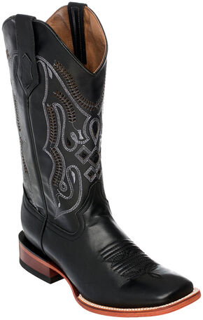 Ferrini Cowhide Leather Cowboy Boots - Square Toe, Black, hi-res