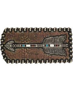 Montana Silversmiths Men's Stitched Arrow Patch Attitude Buckle, Antique Silver, hi-res