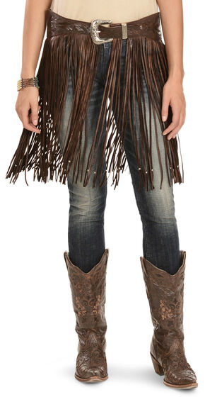 Kobler Leather Women's Hand-Tooled Beaded Fringe Belt, Brown, hi-res