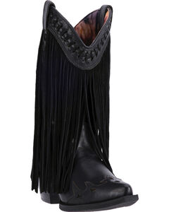 Dingo Black Heart Throb Fringe Cowgirl Boots - Pointed Toe , , hi-res