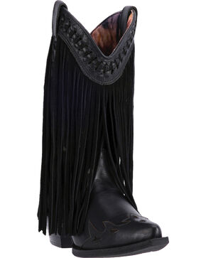 Dingo Black Heart Throb Fringe Cowgirl Boots - Pointed Toe , Black, hi-res