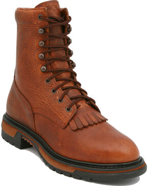 "Rocky Ride Pitstop 9"" Lace-Up Work Boots, Tan, hi-res"
