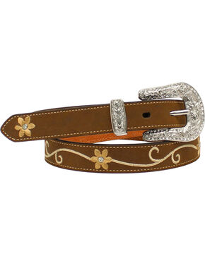 Nocona Women's Floral Embroidered Leather Belt, Med Brown, hi-res