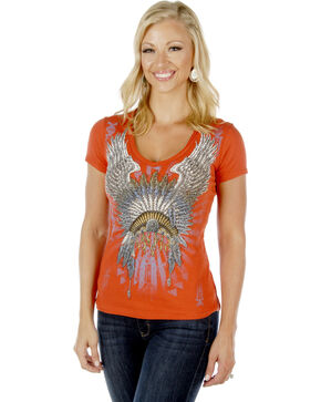 Liberty Wear Women's Native Angel Short Sleeve Tee, Rust, hi-res