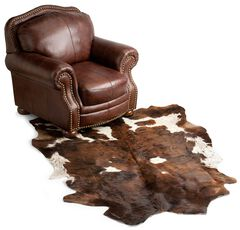 Cowhide Leather Area Rug, Brown, hi-res