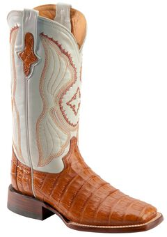 Ferrini Cognac Caiman Belly Cowgirl Boots - Wide Square Toe, , hi-res