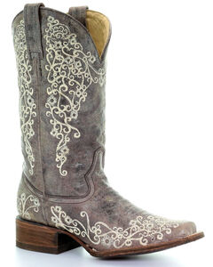 Corral Brown Crater Embroidered Cowgirl Boots - Square Toe, , hi-res