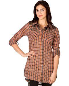 Miss Me Orange Plaid Cross Applique Tunic, , hi-res