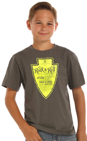 Rock & Roll Cowboy Boys' Grey Graphic Arrowhead Tee, Grey, hi-res
