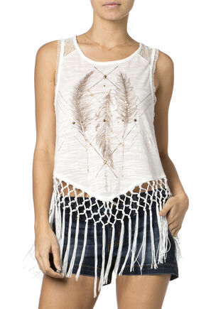 Miss Me Feather Fringe Tank Top, Off White, hi-res