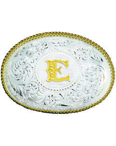 Montana Silversmiths Engraved Initial E Western Belt Buckle, , hi-res