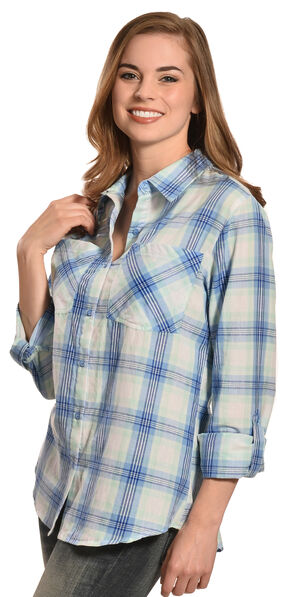 New Direction Sport Women's Blue Plaid Western Shirt , Plaid, hi-res