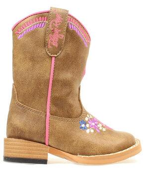 Blazin Roxx Toddler Girls' Zip Sashay Floral Embroidered Cowgirl Boots, Brown, hi-res