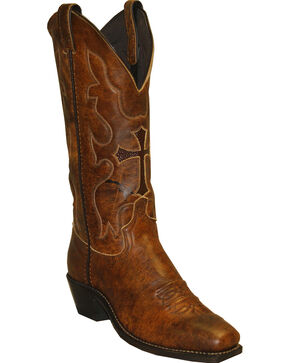 Abilene Boots Women's Western Cross Cowgirl Boots - Square Toe, Brandy, hi-res