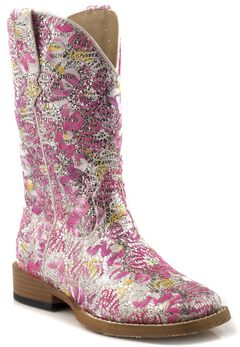 Roper Girls' Glittery Floral Cowgirl Boots - Square Toe, , hi-res