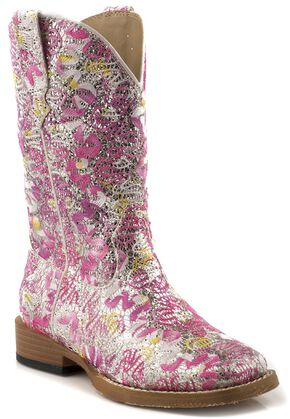 Roper Girls' Glittery Floral Cowgirl Boots - Square Toe, Pink, hi-res